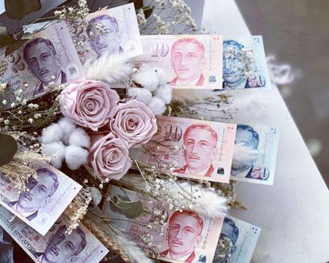 シンガポール お金のブーケ