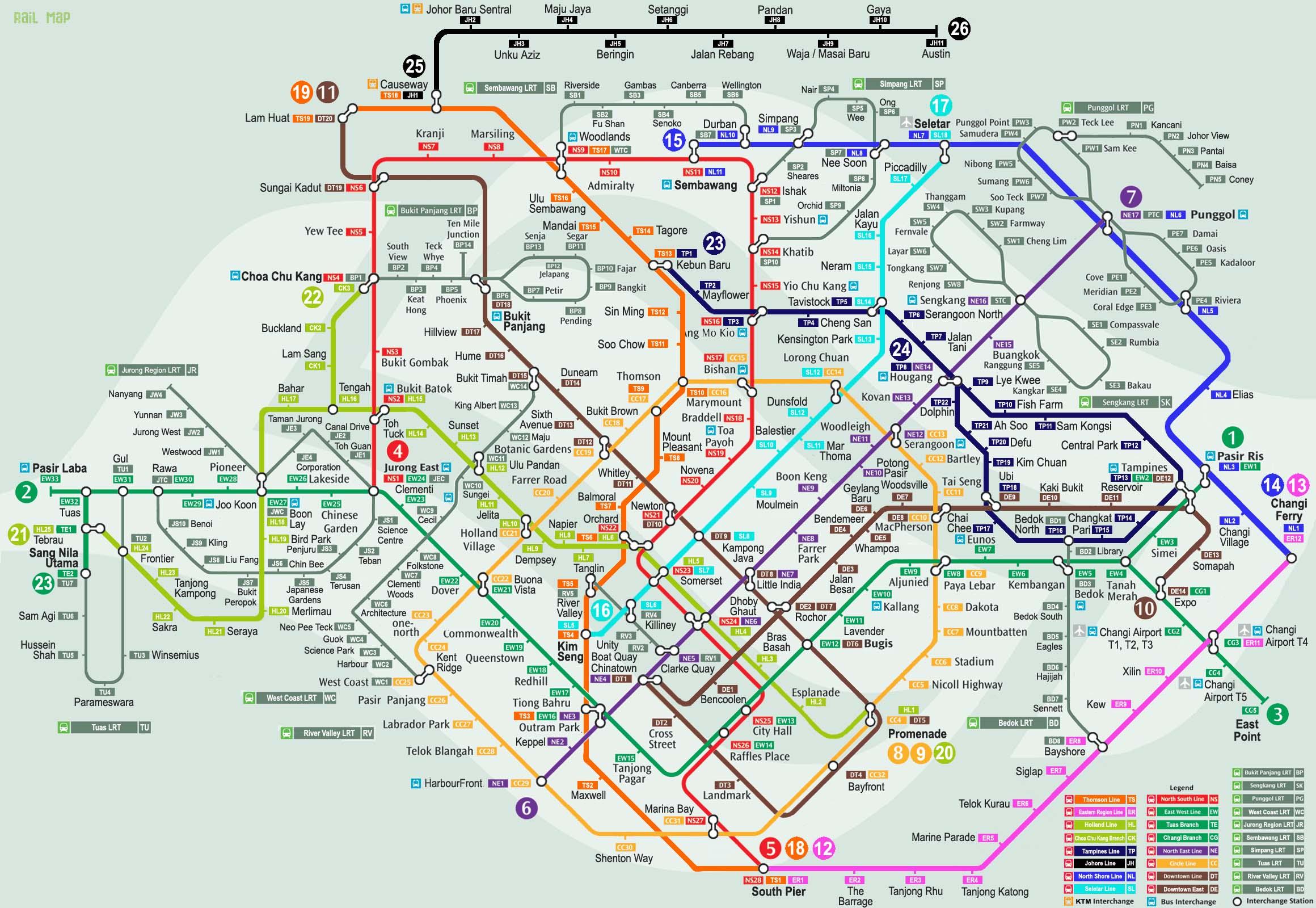 シンガポールMRT路線図、完成予想図(2050年)