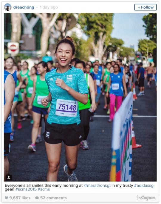 このシンガポールマラソン娘の写真映り良すぎ。そう、実は有名人