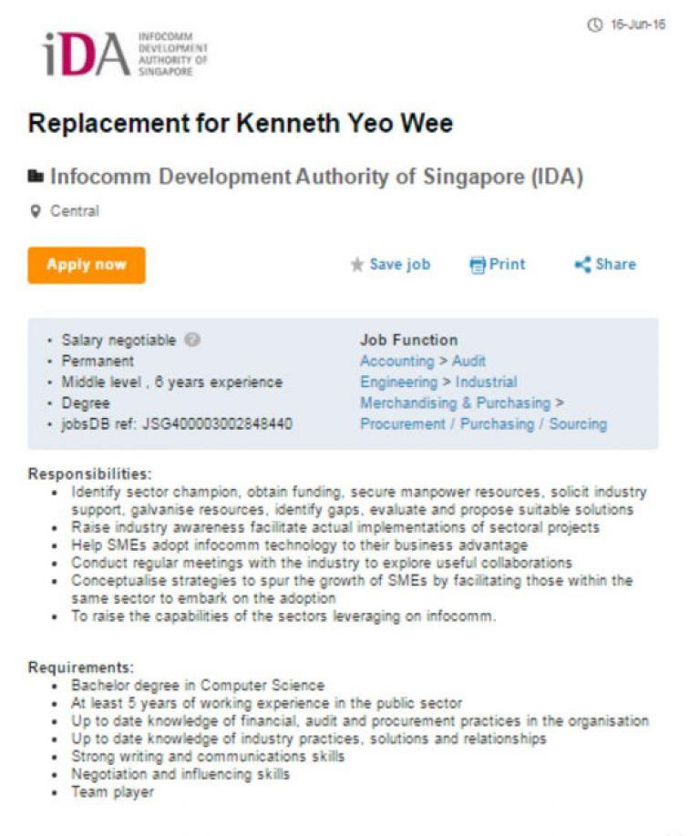 IDAの求人広告の表題に実名が!? KENNETH君の代わりに入ってくれる人募集。