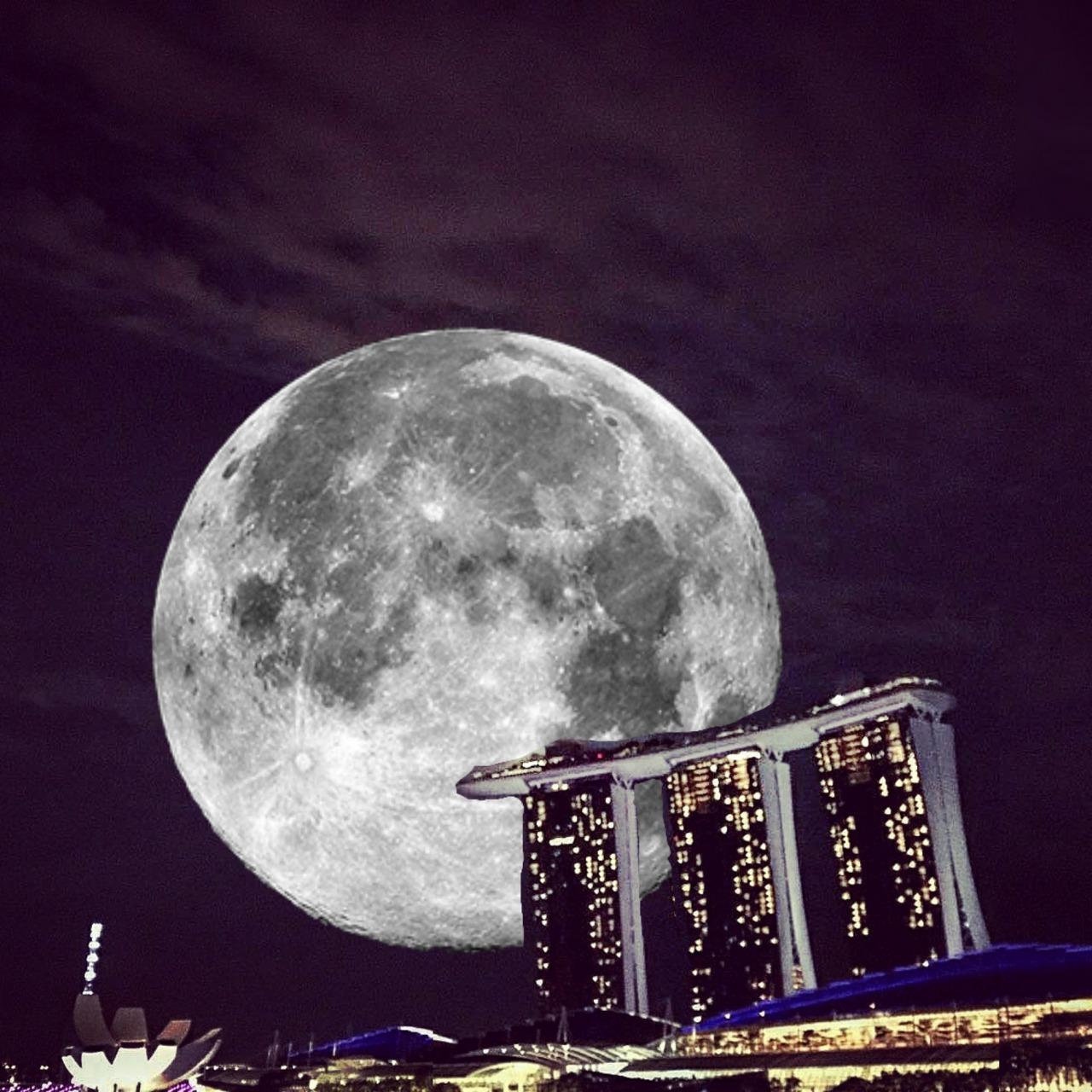 シンガポールスーパームーン 凄かったね!