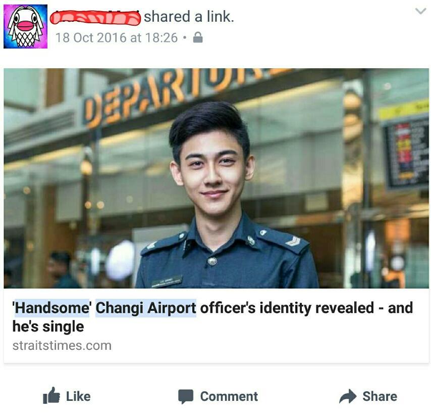 チャンギ空港のイケメン警察官がオンライン上でブームに!